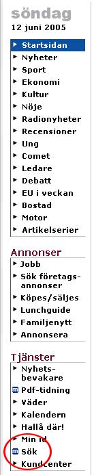 Skärmdump av smp.se - dold sökfunktion