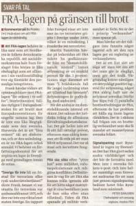 Peter Dahlgren ger svar på tal till Bo Franks (m) insändare om FRA-lagen
