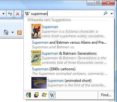 Sök direkt på Wikipedia med Internet Explorer 8