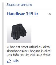 Handksar-annons på Facebook