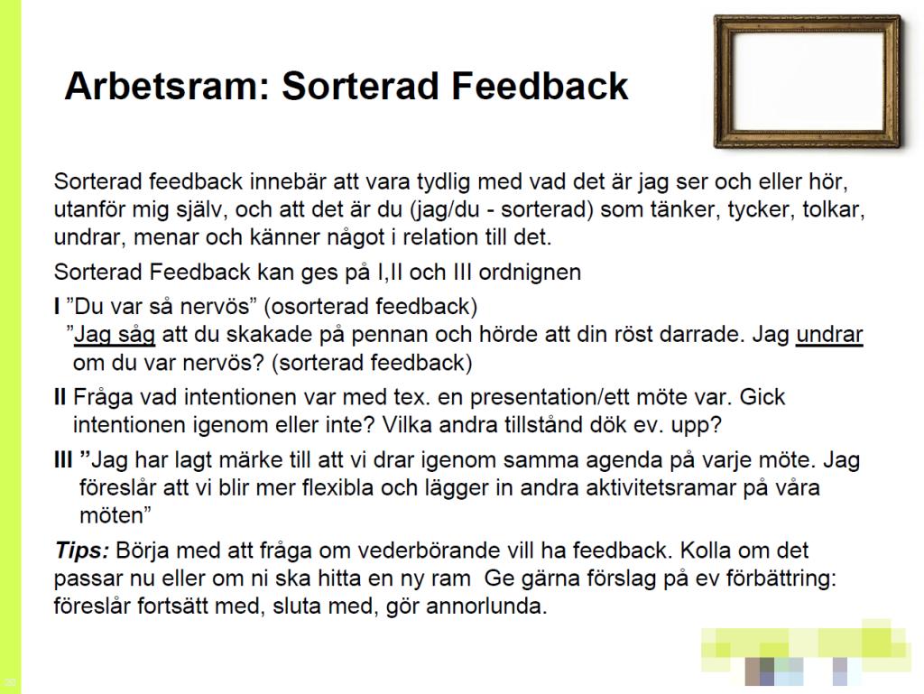 Kommunikologi - sorterad feedback